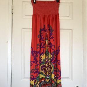 Forever 21 Strapless Tribal Print Maxi Dress